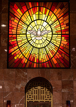 The Holy Spirit window at Vietnamese Martyrs Parish in Arlington